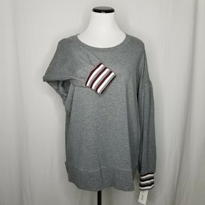 Maison Jules Gray Maroon Striped-Cuff Sweater